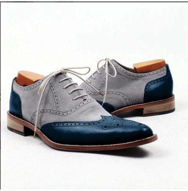8cbdb4e2cc74b Men Two Tone Shoes, Elegant Blue And Gray Formal Shoes Dress Shoes