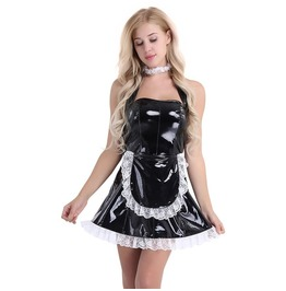 Darkforest Retro Maidservant Cosplay Apron Lace Latex Womens Dress