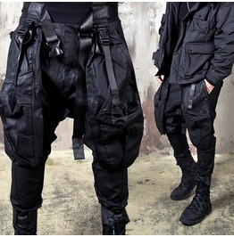 Rebelsmarket techwear multiple buckled strap coated baggy pants 291 pants 20