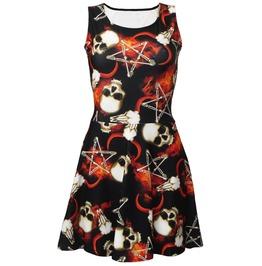 Occult Ram Horn Skull Bone Flame Pentagram Flame Printed Skater Dress