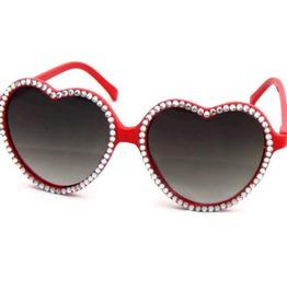 Red Heart Shaped Sunglasses Rhinestones