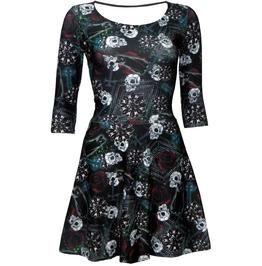 Skulls Roses Wiccan Cross Cat Black Magic Print 3/4 Sleeve Skater Dress