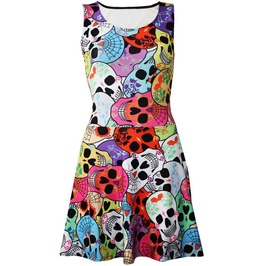 Multi Decorated Sugar Candy Skulls Gothic All Over Printed Skater Dress