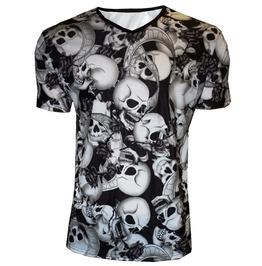 Monochrome Shaded Skulls Roses Banner Tattoo Print V Neck T Shirt