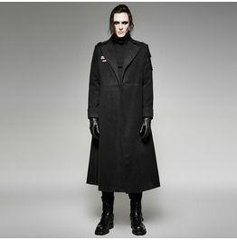 97ca0be2bec Gothic Black Woolen Military Uniform Style Long Coat For Men