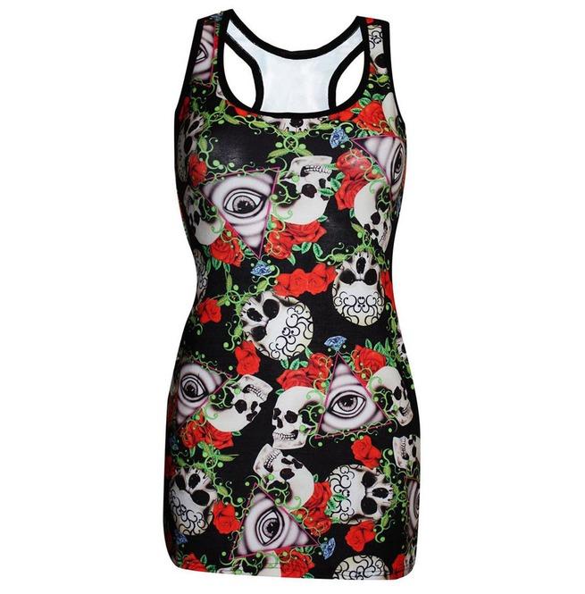 119d76f13e828 Creepy Watching Gothic Eye Floral Skull Roses Print | RebelsMarket