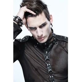 Gothic Black Men's Spiked Choker And Body Harness Silver
