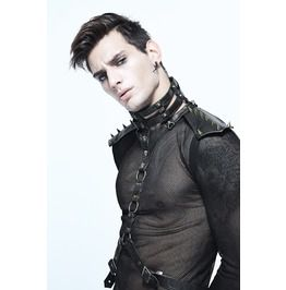 Gothic Black Men's Spiked Choker And Body Harness Bronze