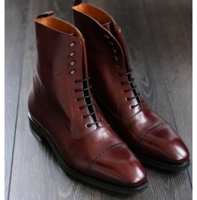 068369edc9a Handmade Men Cap Toe Boots, Brown Ankle Leather Boots, Lace Up Boot