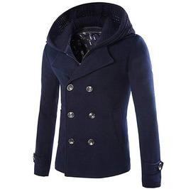Men's Winter Thick Hat Detachable Pea Coat