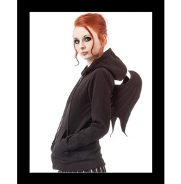 Soft Goth Hooded Jacket Bat Wings Back
