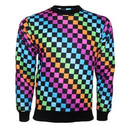 Multi Coloured Chess Board Squares Printed Crew Neck Sweatshirt Jumper