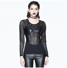 Thinkers clothing gothic black womens net see through leather corset top tanks tops and camis