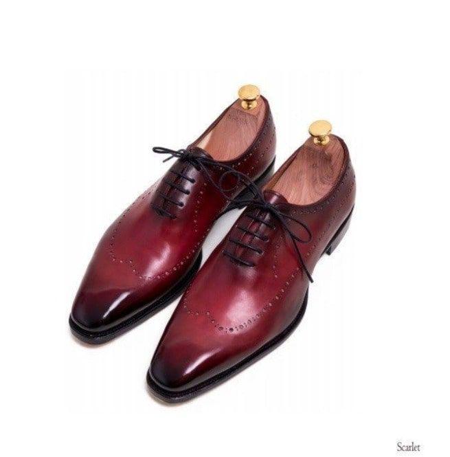 customers first classcic marketable Handmade Men Burgundy Brogue Formal Shoes, Burgundy Dress Shoes