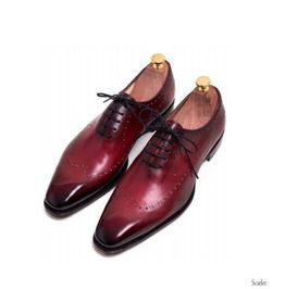 Handmade men burgundy brogue formal shoes men burgundy dress shoes mens boots