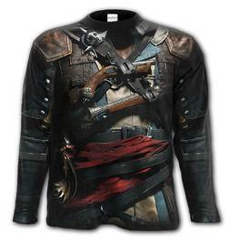 Gothic Tattoo Assassins Creed Iv Black Flag Allover Long Sleeve T Shirt