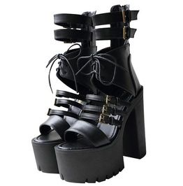 e2685584ec Gothic Punk Women's Gladiator Lace Open Toe High Heels