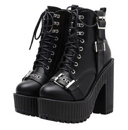 c2a231f7074 Vintage Punk Women s Buckle Lacing Round Toe Black Motorcycle Boots