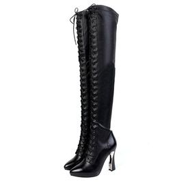 c785a9eee129 Victorian Women s Genuine Leather Lacing Thigh High Boots