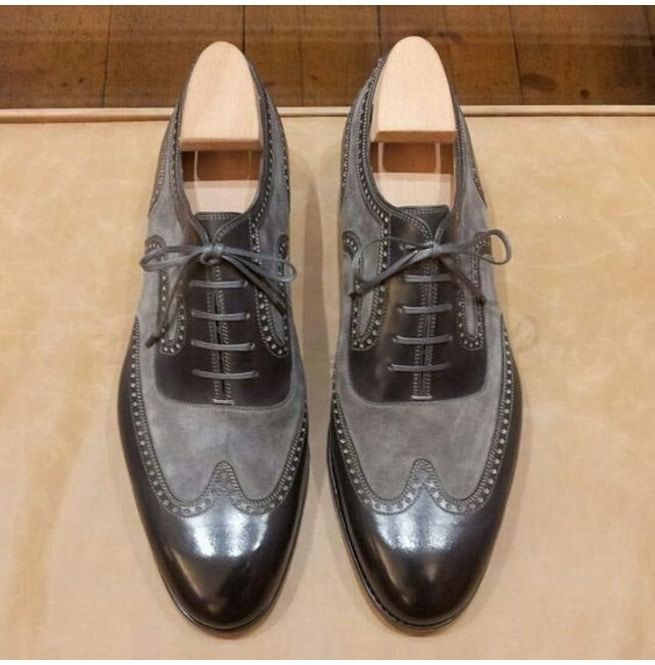 Handmade Two Tone Wingtip Formal Shoes