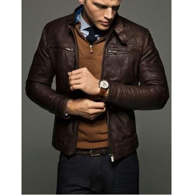 3d5b1121e19a4 Mens Slim Fit Leather Jackets, Men Brown Leather Jacket, Leather Jacket