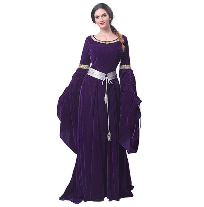 Used Plus Size Ball Gowns: Women's Vintage Ball Gown With Belt Medieval Dress