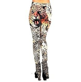 Eye Catching Wild Leopard Design Leggings One Size Small