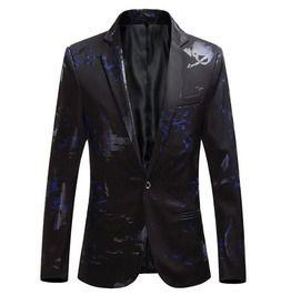 Casual printed slim fit blazer coats