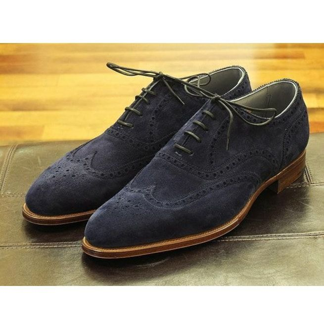 best new specials the cheapest Handmade Men Navy Blue Suede Shoes, Wingtip Brogue Shoes, Dress Shoes