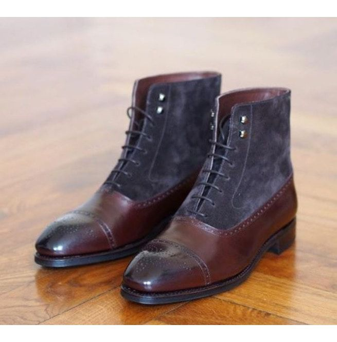 f85c3f1acac Handmade Men Two Tone Ankle Boots, Ankle Leather Boots, Boot