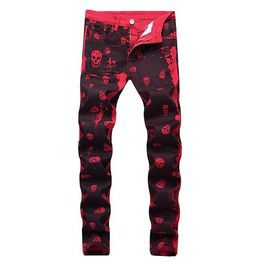 Men's Skull Printed Red Jeans