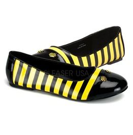 Bumble Bee Ballet Flat , Black / Yellow Patent