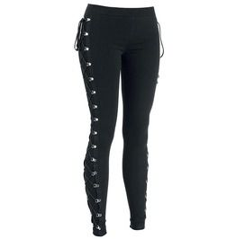 Gothic punk side lacing black leggings leggings