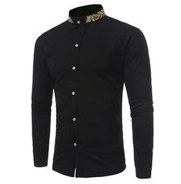 Men s stand collar gold embroidery slim fit shirt shirts