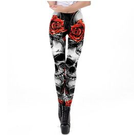 Elliz clothings hellraiser skulls and roses graphic skinny leggings leggings