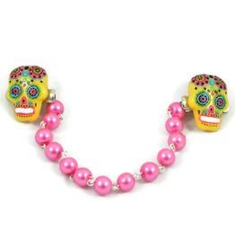 Yellow & Pink Sugar Skull Sweater Clip Pink Pearls