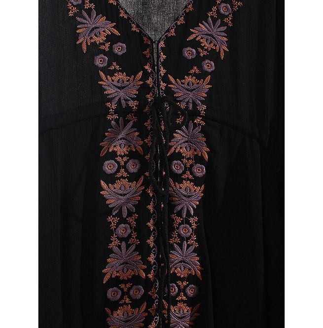 ddcae9a7c89b Women's Boho Flower Embroidered Tunic Maxi Dress | RebelsMarket