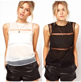 Spliced Fashion Women Sleeveless Tops
