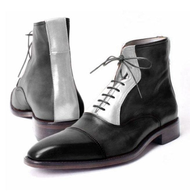 ce6731ebca9052 Handmade Men Two Tone Cap Toe Lace Up Boot, Men Black And White Ankle Boots