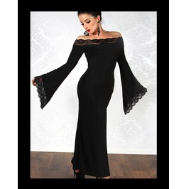 Romantic Gothic Dress,Long,Black,Lace,Flared Sleeves