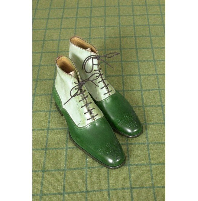 1415dea66a29b Handmade Two Tone High Ankle Boots, Men Green And White Brogue Ankle Boots