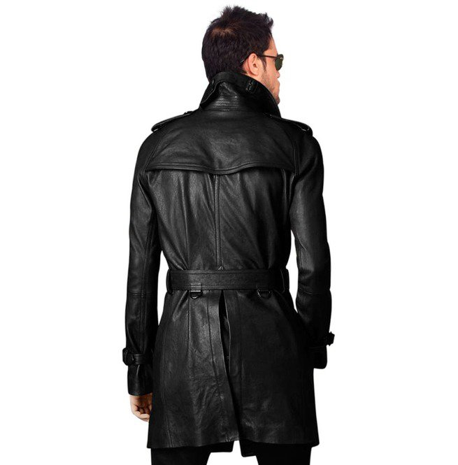 414dc84343b Handmade Men Leather Trench Coat Mens Belted Long Leather Coat Mens Jackets