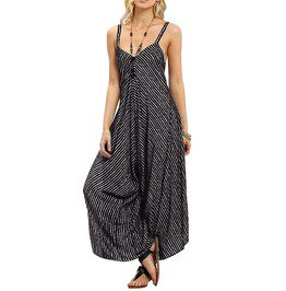 Women s casual strapless wide legs black striped loose jumpsuit rebelsmarket