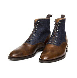 Men Two Tone Ankle Boots, Brown And Blue Denim Lace Up Boots For