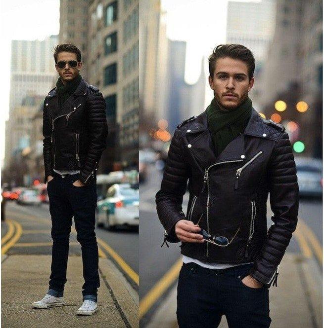 Mens Biker Leather Jacket, Men Fashion Black Motorcycle ...