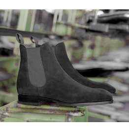 Handmade Mens Dark Gray Suede Chelsea Boots, Men Chelsea Ankle High Boots