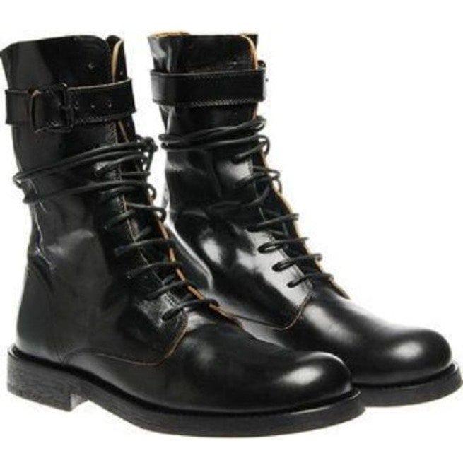 b531b16b998 Handmade Men Black Long Military Boots, Black Lace Up Combat Boots