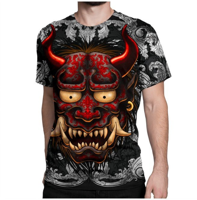 Red Tattooed Oni, Silver Ornaments All Over T Shirt | RebelsMarket