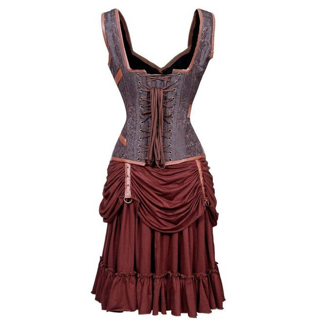 Steampunk Style Steel Boned Plus Size Corset Dress