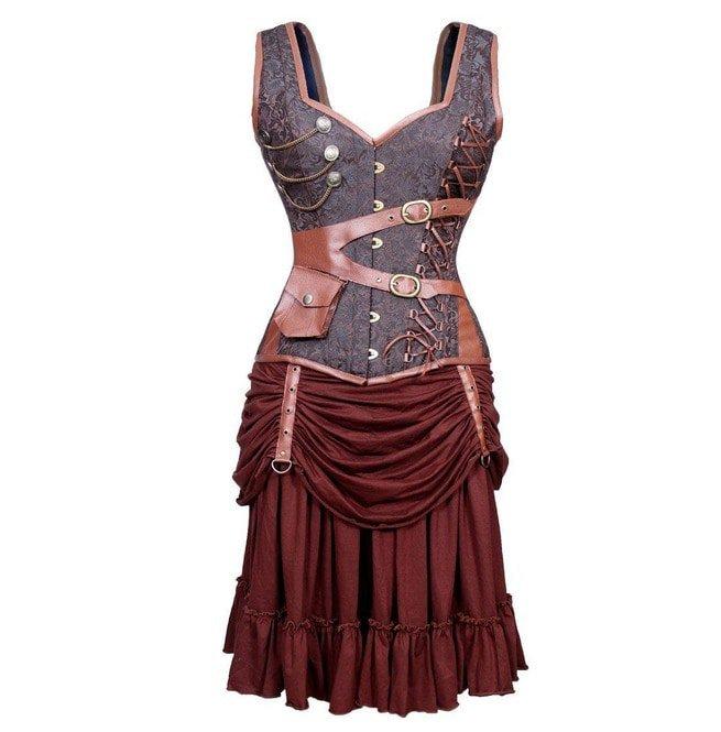Steampunk Style Steel Boned Plus Size Corset Dress
